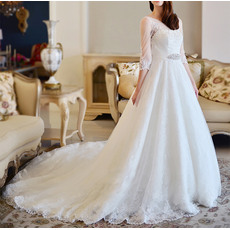 Gorgeous A-Line Cathedral Train Illusion Neckline Low Back Lace Tulle Wedding Dresses with 3/4 Length Sleeves