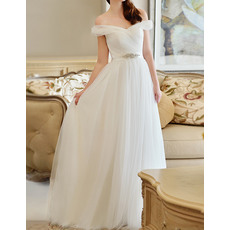 Affordable Off-the-shoulder Full Length Tulle Wedding Dresses with Pleated Bodice