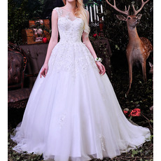 New Style Bateau Neck Ball Gown Chapel Train Satin Tulle Wedding Dresses with Appliques Beaded