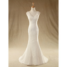 Affordable Sexy Sheath V-Neck Sleeveless Sweep Train Ivory Lace Wedding Dresses