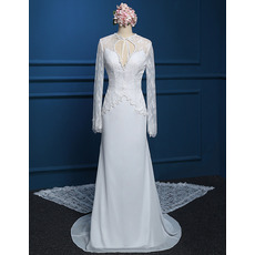 Beautiful Scoop Halter Neckline Chiffon Wedding Dresses with Long Lace Sleeves and Train/ Modest Keyhole Neck Beading Open Back