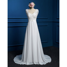 Graceful Empire Applique Beaded Bodice Chiffon Wedding Dresses with Cowl Back