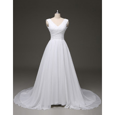 Ball Gown V-Neck Court Train Chiffon Pleated Wedding Dresses