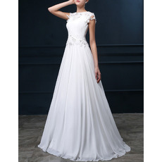 Elegant A-Line Bateau Sweep Train Chiffon Applique Wedding Dresses