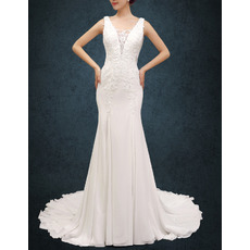 Sexy Beading Appliques Mesh V-neckline Chiffon Wedding Dresses with Dramatic Illusion Back