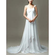 Custom Empire Straps Sweetheart Court Train Chiffon Wedding Dresses