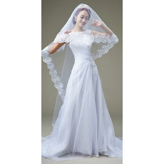 Inexpensive A-Line Bateau Sweep Train Organza Pleated Wedding Dresses