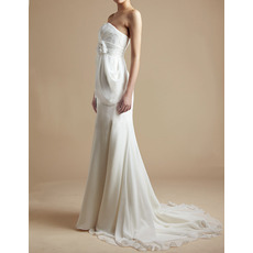 Simple Sheath Strapless Chiffon Wedding Dresses with Hand-made Flowers with Side Draping