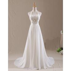 Discount Halter-neck Pleated Chiffon Wedding Dresses with Beaded Appliques Waist