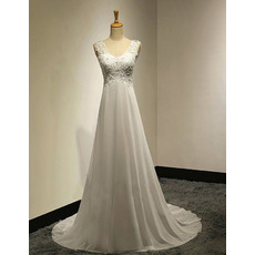 Affordable A-Line Round Empire Sweep Train Chiffon Wedding Dresses
