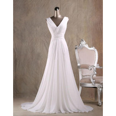 Dramatic V-Neck Pleated Chiffon Wedding Dresses with Open Back and Beadings Fringe