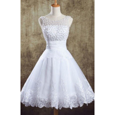 Informal A-Line Scoop Short Organza Beaded Garden Wedding Dresses