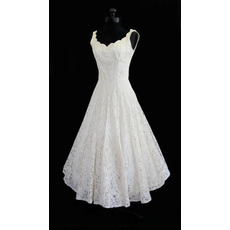 Smiple Ball Gown Short Reception Lace Wedding Dresses