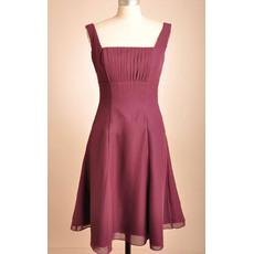 Elegant Square Wide Straps Chiffon Tea Length Sleeveless Bridesmaid Dresseswith Rushed Bodice