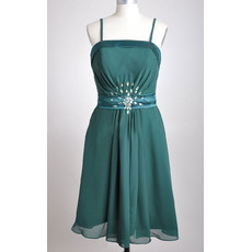 Elegant Spaghetti Straps Ruched Chiffon Tea Length Bridesmaid Dresses with Belt and Rhinestone