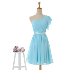 New Arrival Asymmetric Flutter Sleeve Pleated Chiffon Short Bridesmaid Dresses with Belts Under 100