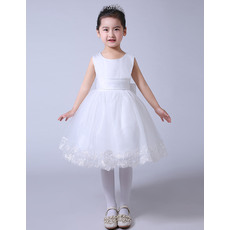Custom Ball Gown Knee Length Organza Satin Bow Flower Girl Dresses/ Custom White First Communion Dresses