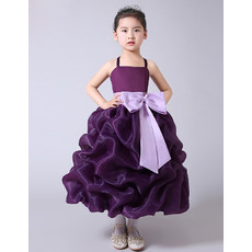 Amazing Ball Gown Tea Length Pick-Up Skirt Organza Flower Girl Dresses with Sashes