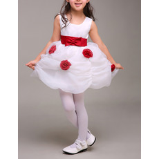 Cute Mini/ Short Pick-Up Skirt Organza Two Tone Flower Girl Dresses with Bow and Hand-made Flowers