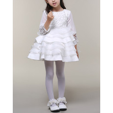 Cute Style Short Lace Layered Skirt Satin Organza White Flower Girl Dresses with 3/4 Long Sleeves