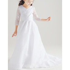 Classic Full Length Satin Organza Flower Girl Dresses with Long Sleeves/ White First Communion Plus Size Dresses