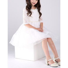 Beautiful A-Line Beaded Round Neck Short Organza Lace Flower Girl Dresses with Half Sleeves
