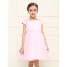 Cheap Simple Empire Short Pink Tulle Flower Girl Dresses with Cap Sleeves