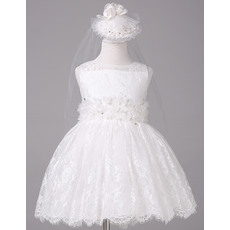 Beautiful Ball Gown Bateau Neck Short Lace Flower Girl Dresses with Flower Waistband
