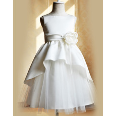 Discount Floor Length Satin Tulle Girls First Communion Dresses with Split Front/ Cute Flower Girl Dresses