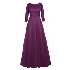 Discount A-Line Empire Floor Length Mother Dresses with 3/4 Sleeves