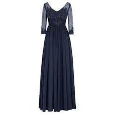 Stylish V-Neck Full Length Pleated Navy Blue Chiffon Bride Mother Dresses for Wedding with 3/4 Tulle Sleeves