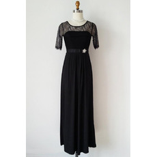 Inexpensive Chiffon Black Mother Dresses with Half Lace Sleeves