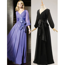 Modest V-Neck Full Length Chiffon Black Bride Mother Dresses with Long Sleeves/ Low Back Pleated Groom Mother Dresses