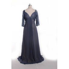Inexpensive Empire Deep V-neckline Lace Plus Size Chiffon Mother Dresses for Wedding Party with 3/4 Long Sleeves