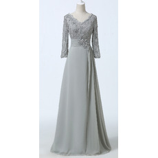 Elegant Rhinestones Lace Chiffon Mother Dresses with Long Sleeves/ Double V-Neck Side Ruching Groom Mother Dresses