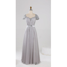 Elegant Sweetheart Pleated Chiffon Mother Dresses for Party with Cap Sleeves