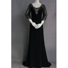 Couture Sheath Beading Chiffon Black Mother Dresses with Long Sleeves/ Full Length Groom Mother Dresses for Wedding Party
