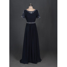 Dramatic Full Length Beading Chiffon Mother Dresses with Short Sleeves/ Long Length Groom Mother Dresses for Wedding Party