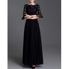 Elegant Chiffon Lace Pleated Bride Mother Dresses with Half Trumpet Sleeves/Black Long Length Groom Mother Dresses