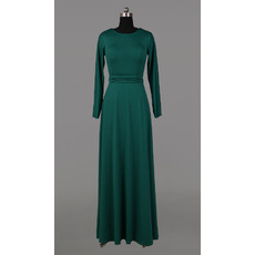 Vintage Long Satin Mother Dresses with Long Sleeves and Sashes