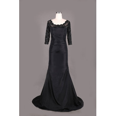 Custom Long Taffeta Black Mother Dresses with 3/4 Long Lace Sleeves