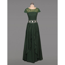 Graceful Long Length Chiffon Mother Dresses with Cap Sleeves and Crystal Beaded Waist