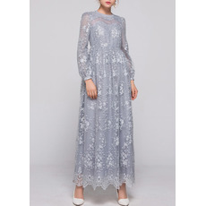Elegant Empire Ankle Length Lace Plus Size Mother Dresses with Long Sleeves