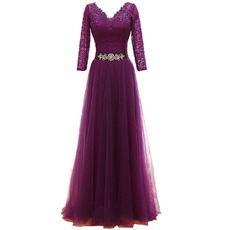 Modest V-Neck Tulle Mother Dresses with 3/4 Long Lace Sleeves