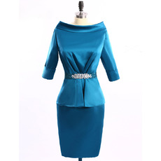 Stylish Column Bateau Neckline Satin Mother Dresses for Party with 3/4 Long Sleeves