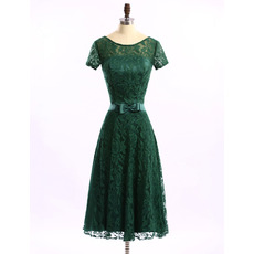 Simple Cheap A-Line Low Back Tea Length Lace Mother of The Groom Dresses/of the Bride Dresses with Short Sleeves