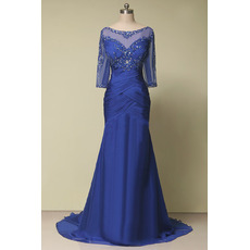 Stylish Sexy Trumpet Long Length Beaded Ruched Mother of The Groom Dresses/of the Bride Dresses with 3/4 Tulle Sleeves