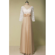 Stunning V-Neck Empire Two Toned Pleated Chiffon Mother of The Groom Dresses/of the Bride Dresses with 3/4 Long Lace Sleeves