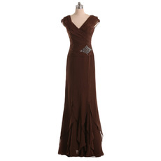 New Sheath V-Neck Floor Length Chiffon Mother of the Bride Dresses