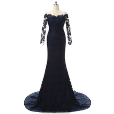 Custom Illusion Off-the-shoulder Lace Mother Dresses with Long Sleeves
